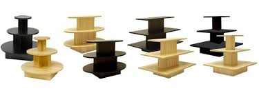 Place order online high quality 3 tiered wooden display table